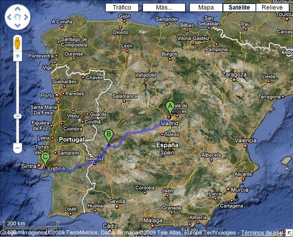 Madrid (A) - Cáceres (B) - Lisboa (C)