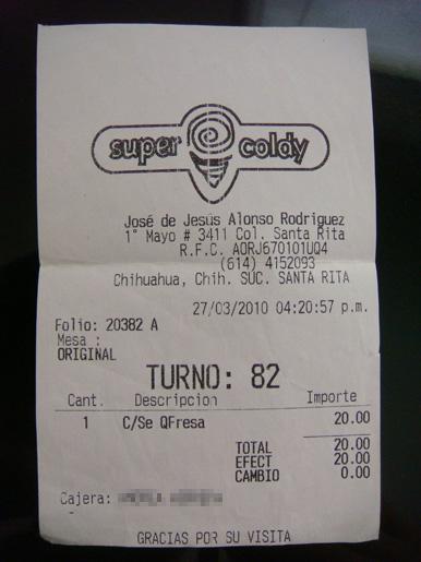Ticket de Nieves Super Coldy