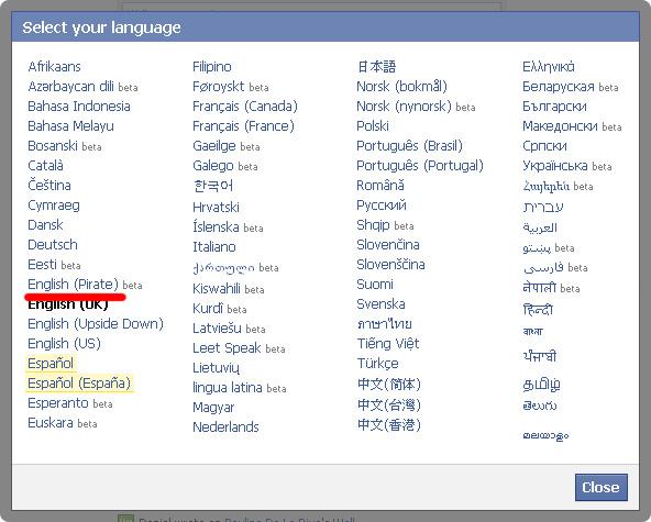 Escoger idioma