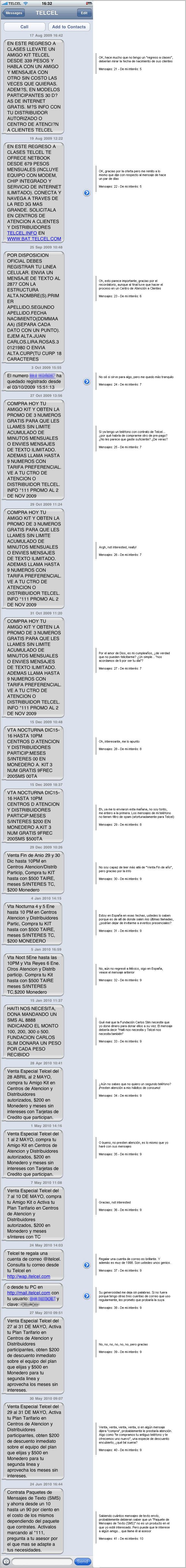 Mensajes recibidos de TELCEL