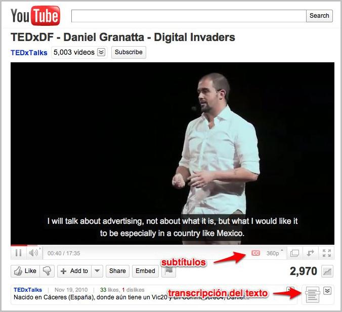 Vídeo con subtítulos de la charla en TEDxDF 2010