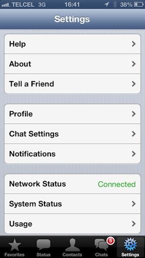 Menú de opciones de Whatsapp