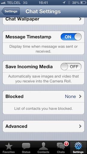 Menú de opciones de chat de Whatsapp