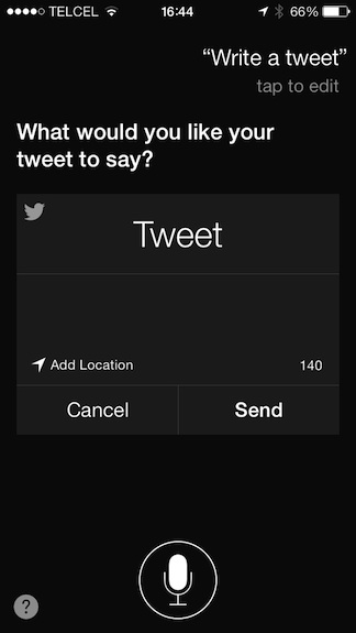 Tweet desde Siri