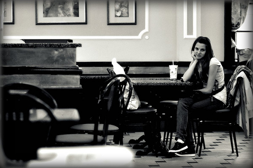 Sometimes people fall at love in a coffee shop
