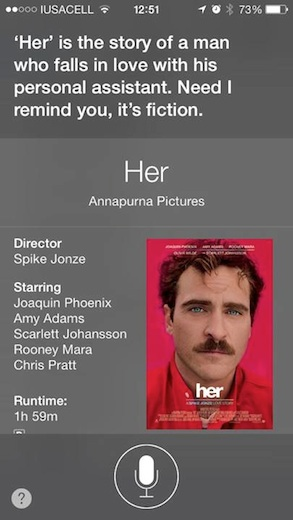 """Opinión de Siri sobre """"Her"""""""