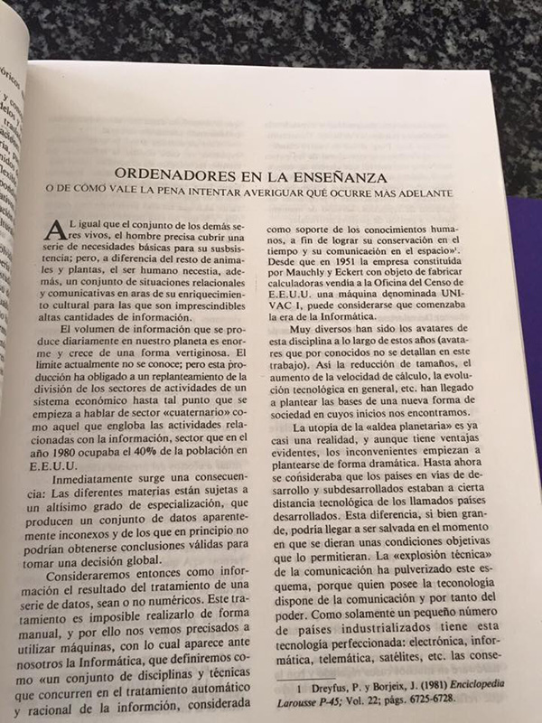 Artículo sobre ordenadores y la enseñanza