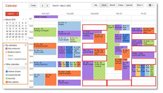 Visualización de un Google Calendar